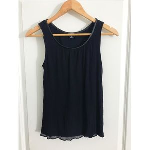 Club Monaco Black Sheer Leather Trim Tank Top S